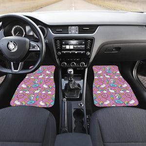 Pink Girly Unicorn Donut Pattern Print Front Car Floor Mats