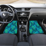 Turquoise Tropical Leaf Pattern Print Front Car Floor Mats