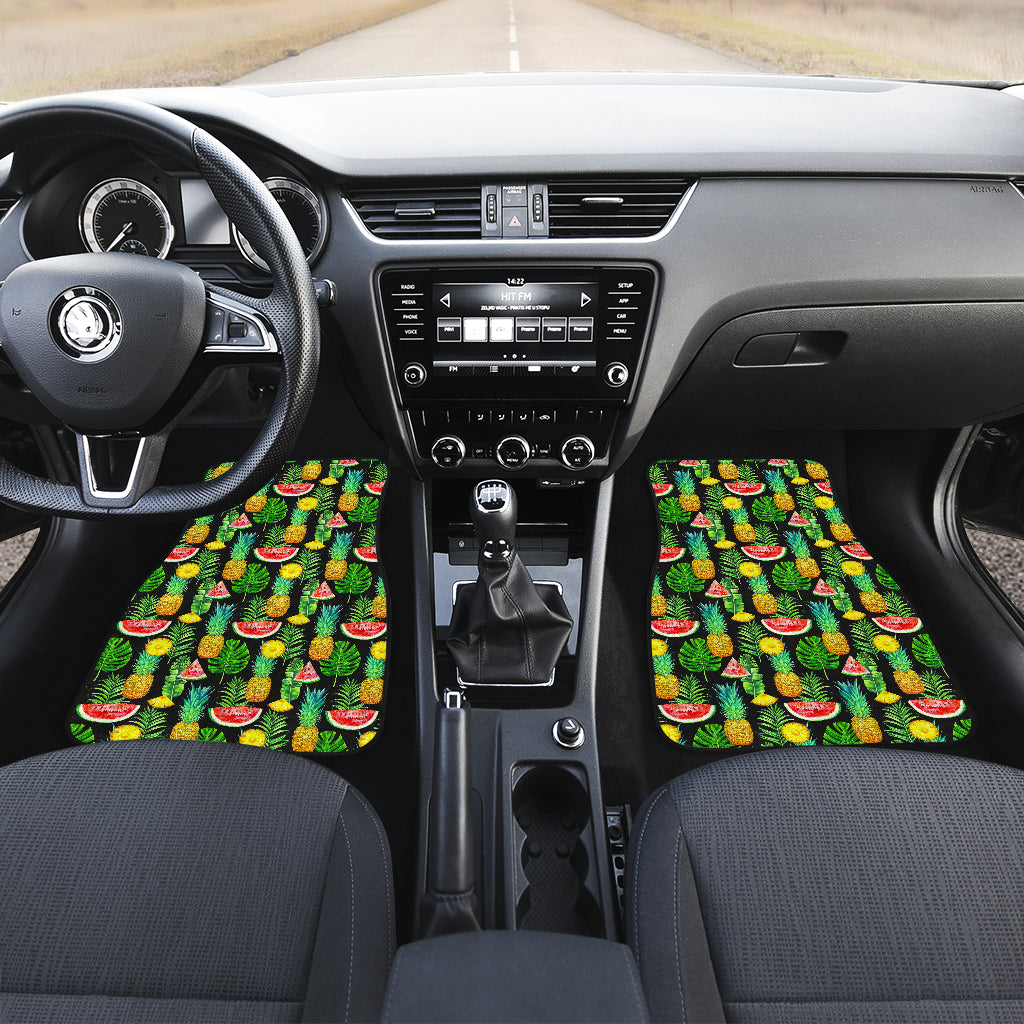 Black Tropical Pineapple Pattern Print Front Car Floor Mats