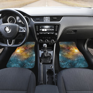 Blue Orange Stardust Galaxy Space Print Front Car Floor Mats