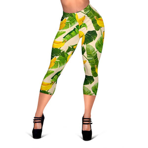 Aloha Banana Pattern Print Women's Capri Leggings