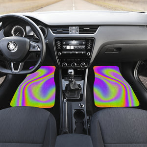 Abstract Holographic Trippy Print Front and Back Car Floor Mats
