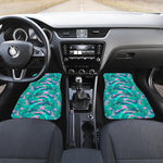 Pink Teal Tropical Leaf Pattern Print Front Car Floor Mats