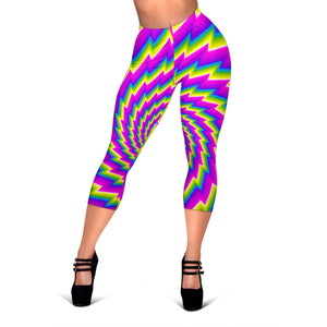Abstract Twisted Moving Optical Illusion Women's Capri Leggings