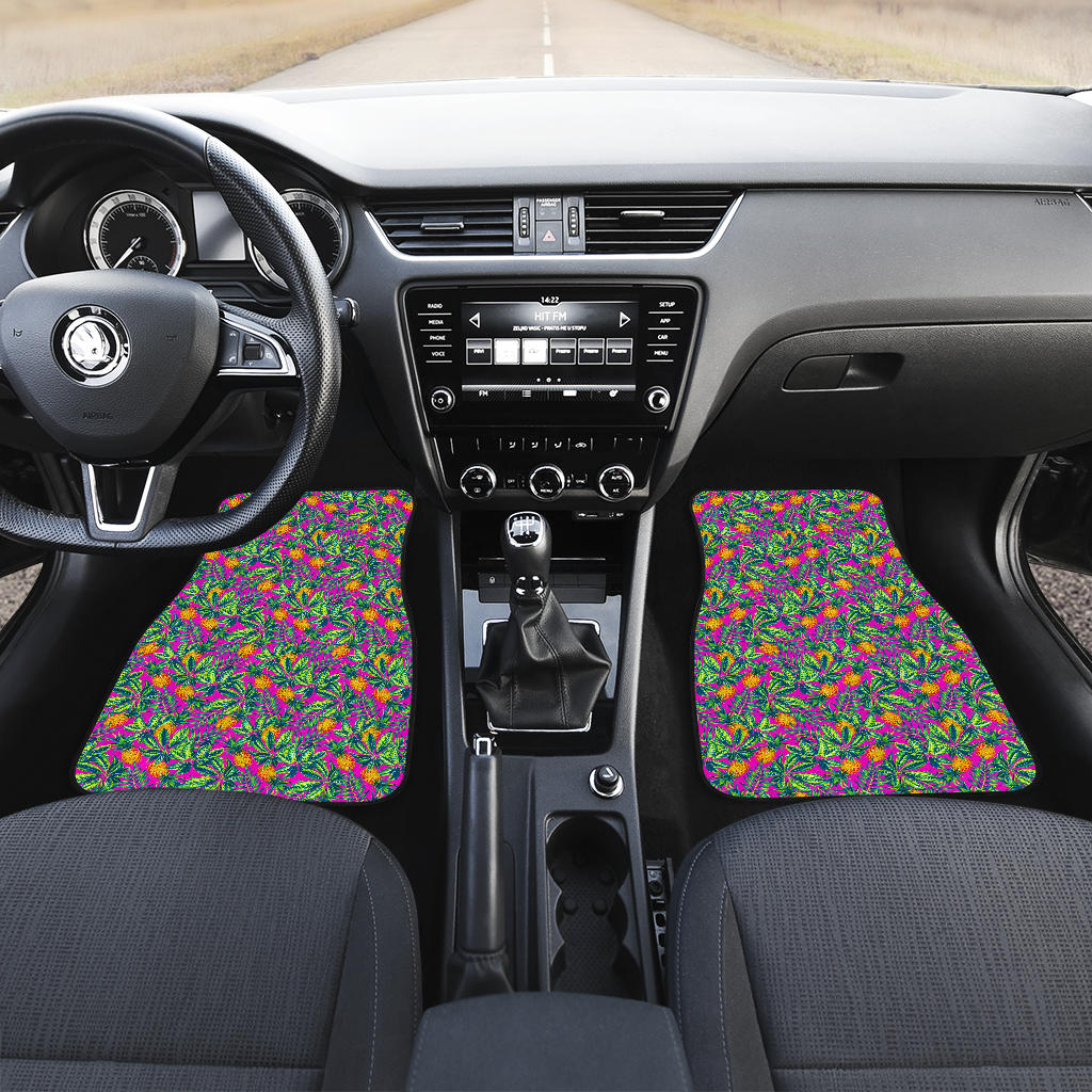 Hot Purple Pineapple Pattern Print Front Car Floor Mats