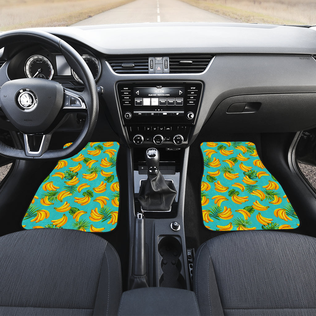 Tropical Banana Leaf Pattern Print Front Car Floor Mats