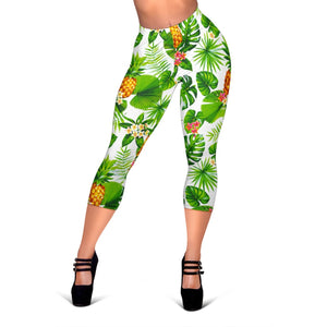 Aloha Hawaiian Pineapple Pattern Print Women's Capri Leggings