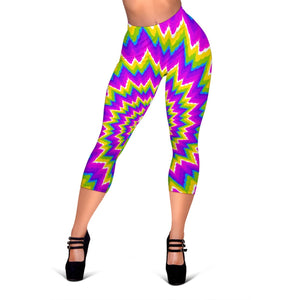 Abstract Spiral Moving Optical Illusion Women's Capri Leggings