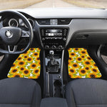 Doodle Sunflower Pattern Print Front Car Floor Mats