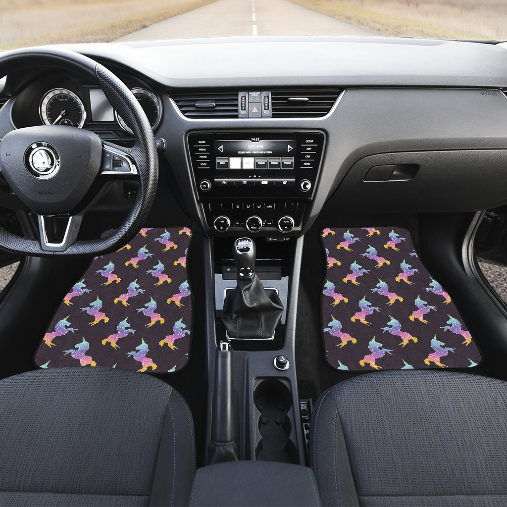 Rainbow Origami Unicorn Pattern Print Front Car Floor Mats