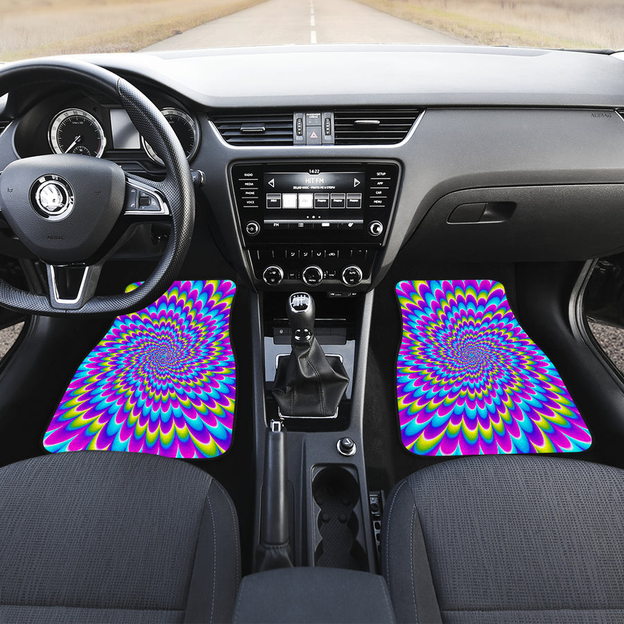 Abstract Dizzy Moving Optical Illusion Front Car Floor Mats