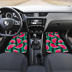 Green Striped Watermelon Pattern Print Front Car Floor Mats