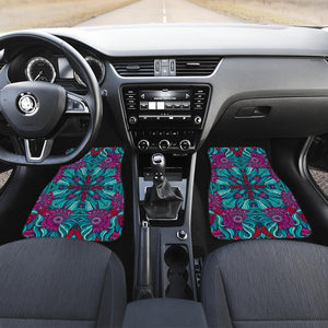 Ethnic Teal Bohemian Pattern Print Front Car Floor Mats