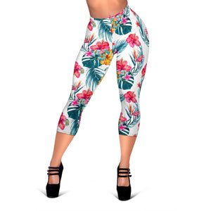 Aloha Hawaii Floral Pattern Print Women's Capri Leggings