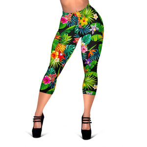 Aloha Hawaiian Tropical Pattern Print Women's Capri Leggings