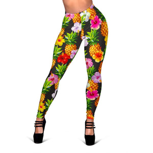 Aloha Hibiscus Pineapple Pattern Print Women's Leggings