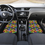 Colorful Leaves Tropical Pattern Print Front Car Floor Mats