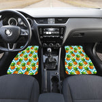 Teal Zig Zag Pineapple Pattern Print Front Car Floor Mats