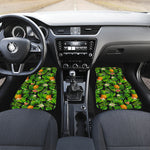 Black Hawaiian Pineapple Pattern Print Front Car Floor Mats