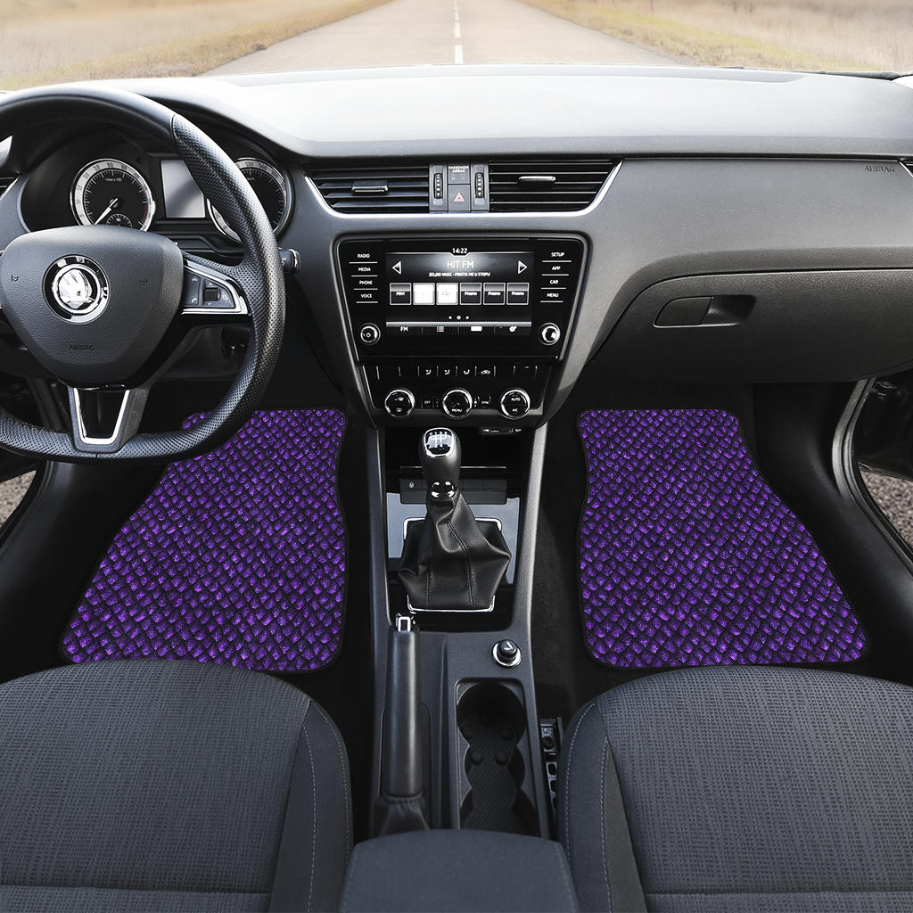 Purple Dragon Scales Pattern Print Front Car Floor Mats