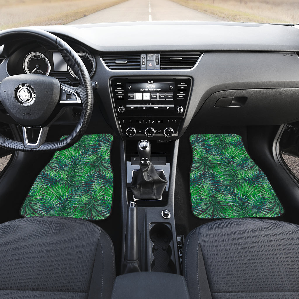 Watercolor Tropical Leaves Pattern Print Front Car Floor Mats