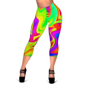 Abstract Liquid Trippy Print Women's Capri Leggings