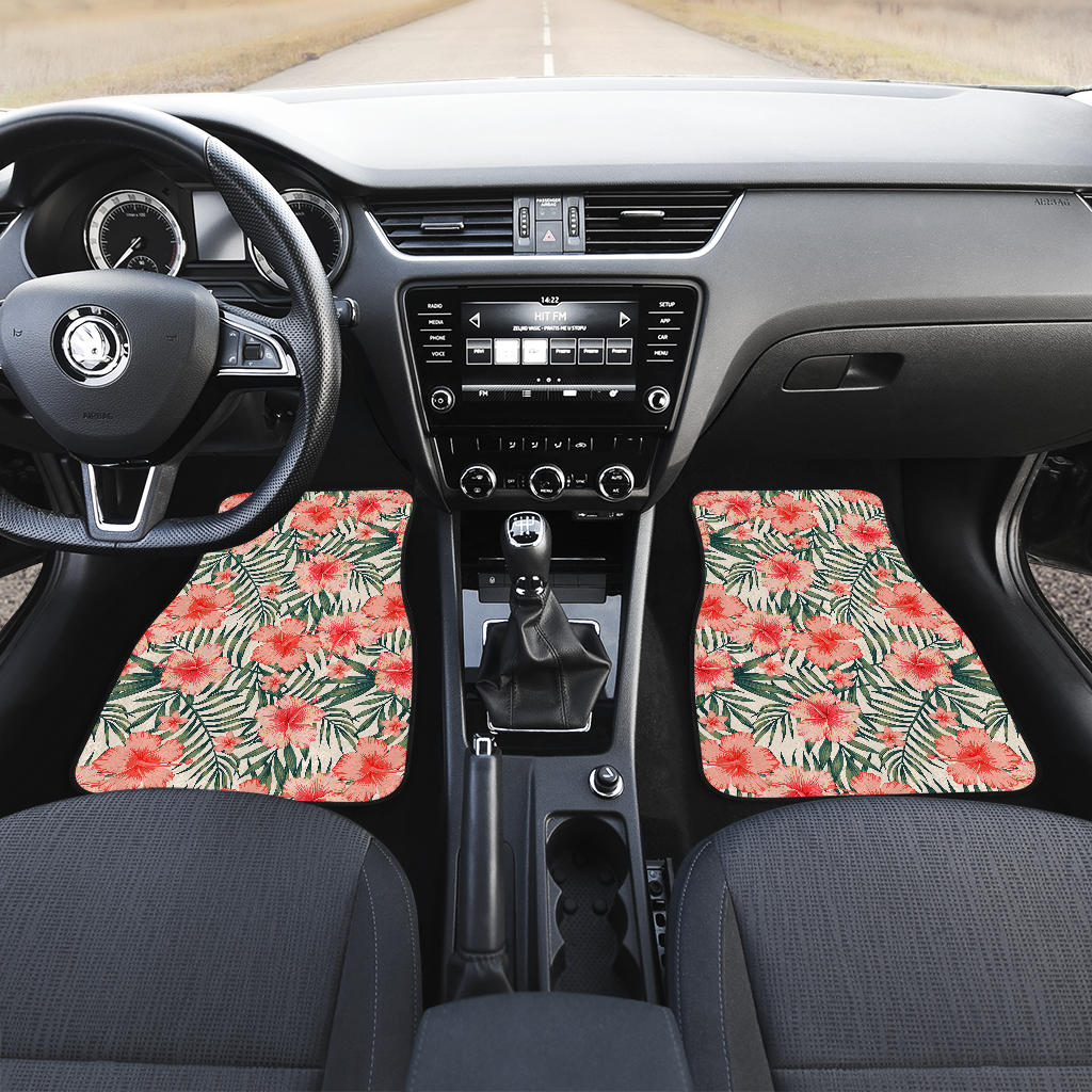 Exotic Tropical Hibiscus Pattern Print Front Car Floor Mats