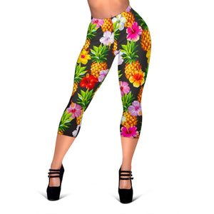 Aloha Hibiscus Pineapple Pattern Print Women's Capri Leggings