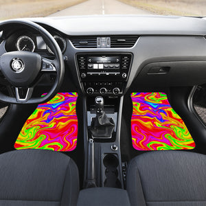 Abstract Colorful Liquid Trippy Print Front Car Floor Mats