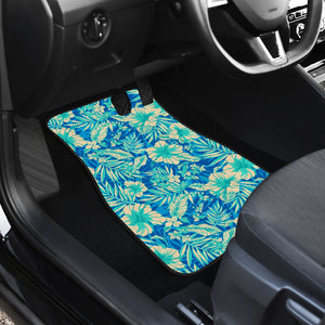 Blue Blossom Tropical Pattern Print Front Car Floor Mats