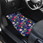 Watercolor Tropical Flower Pattern Print Front Car Floor Mats