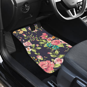 Vintage Rose Floral Flower Pattern Print Front Car Floor Mats