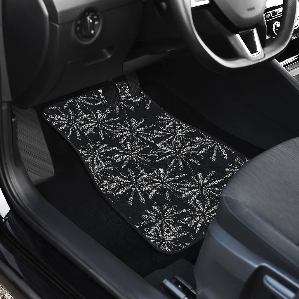 Black White Palm Tree Pattern Print Front Car Floor Mats