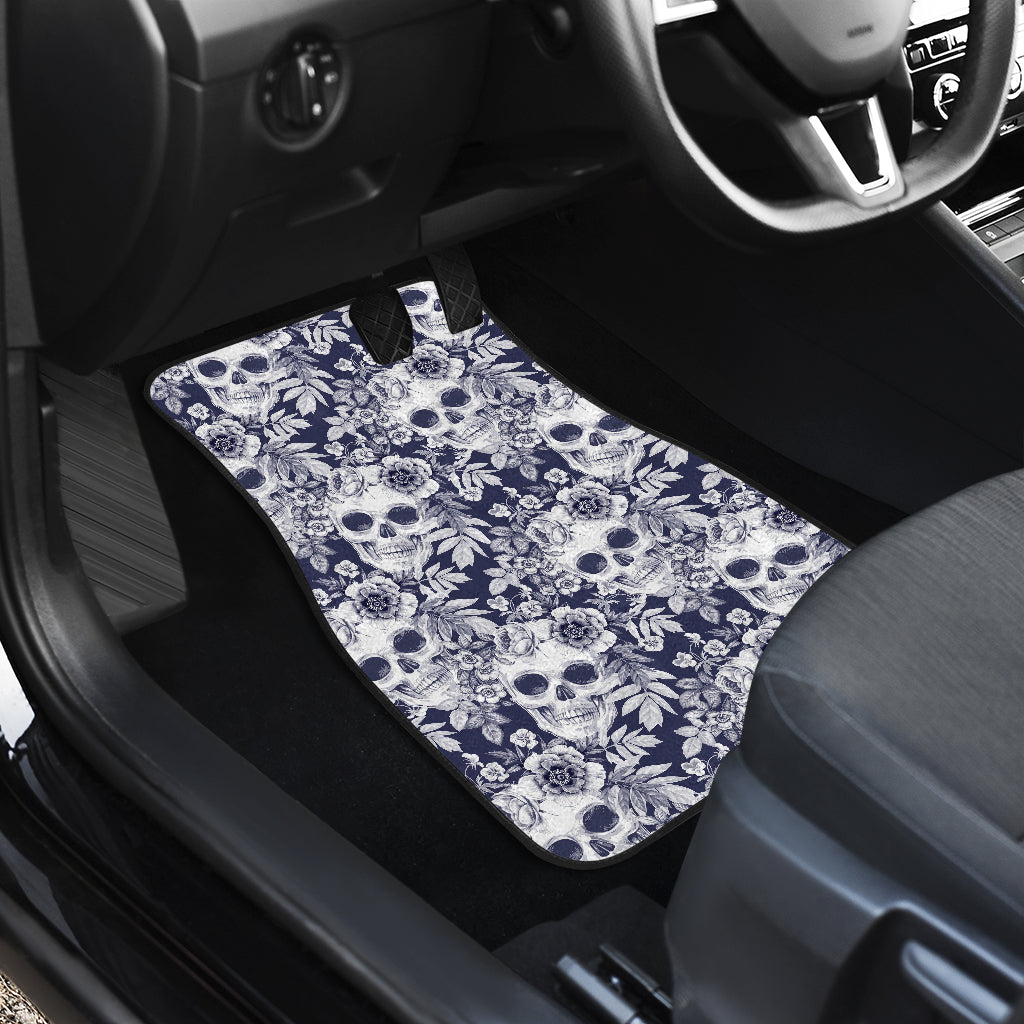 White Blue Skull Floral Pattern Print Front Car Floor Mats