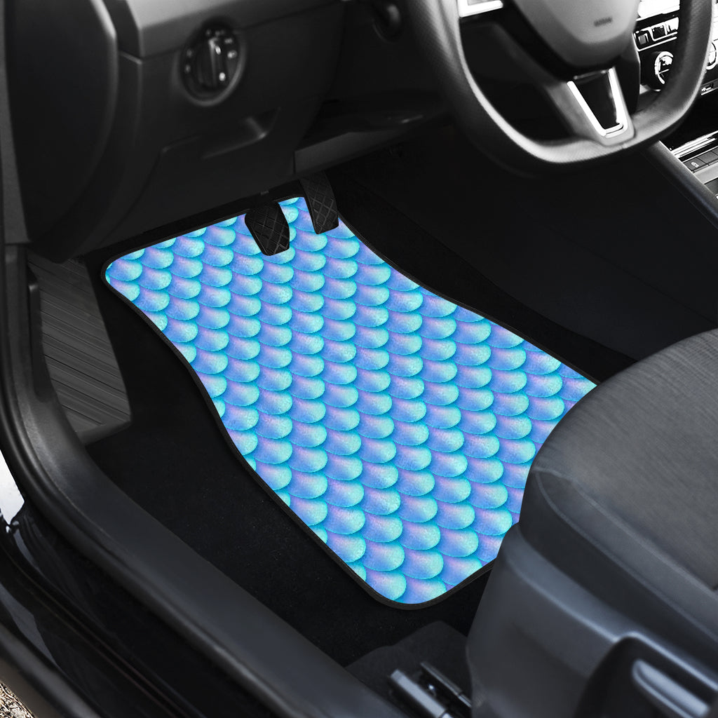 Blue Neon Mermaid Scales Pattern Print Front Car Floor Mats