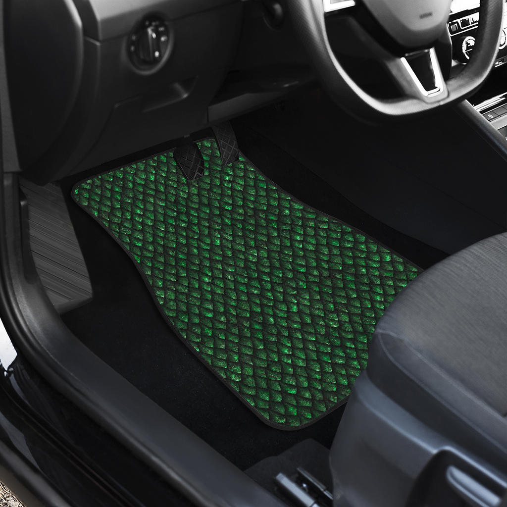Green Dragon Scales Pattern Print Front Car Floor Mats