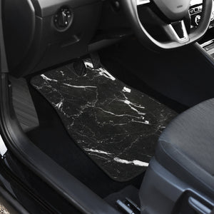 Black White Scratch Marble Print Front Car Floor Mats