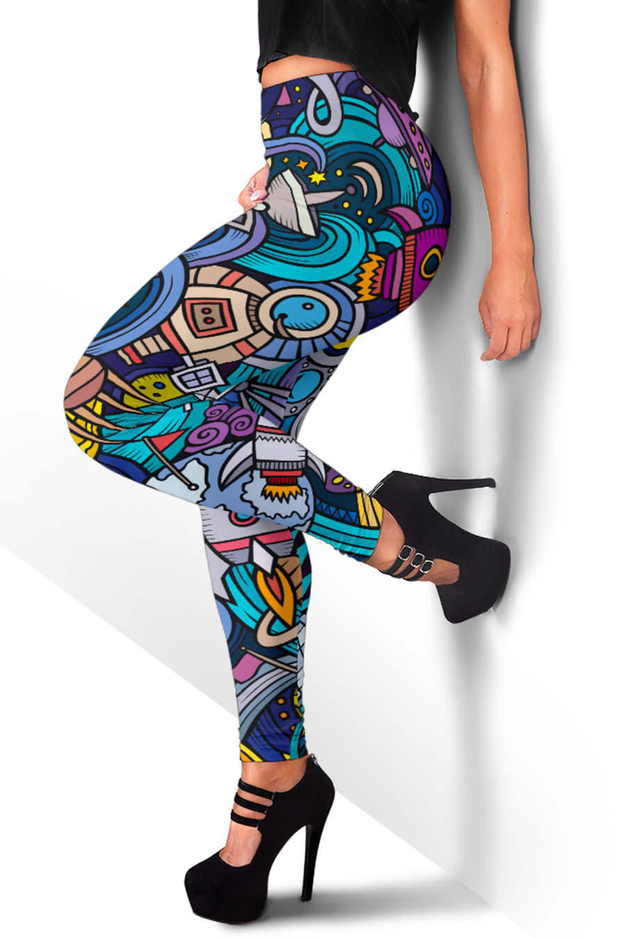 Abstract Cartoon Galaxy Space Print Women's Leggings