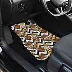 Gold Tropical Skull Pattern Print Front Car Floor Mats