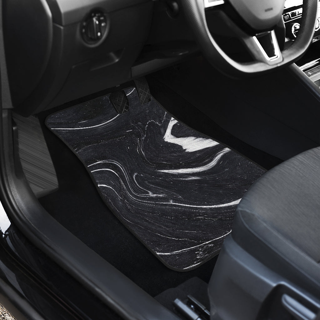 Black White Liquid Marble Print Front Car Floor Mats