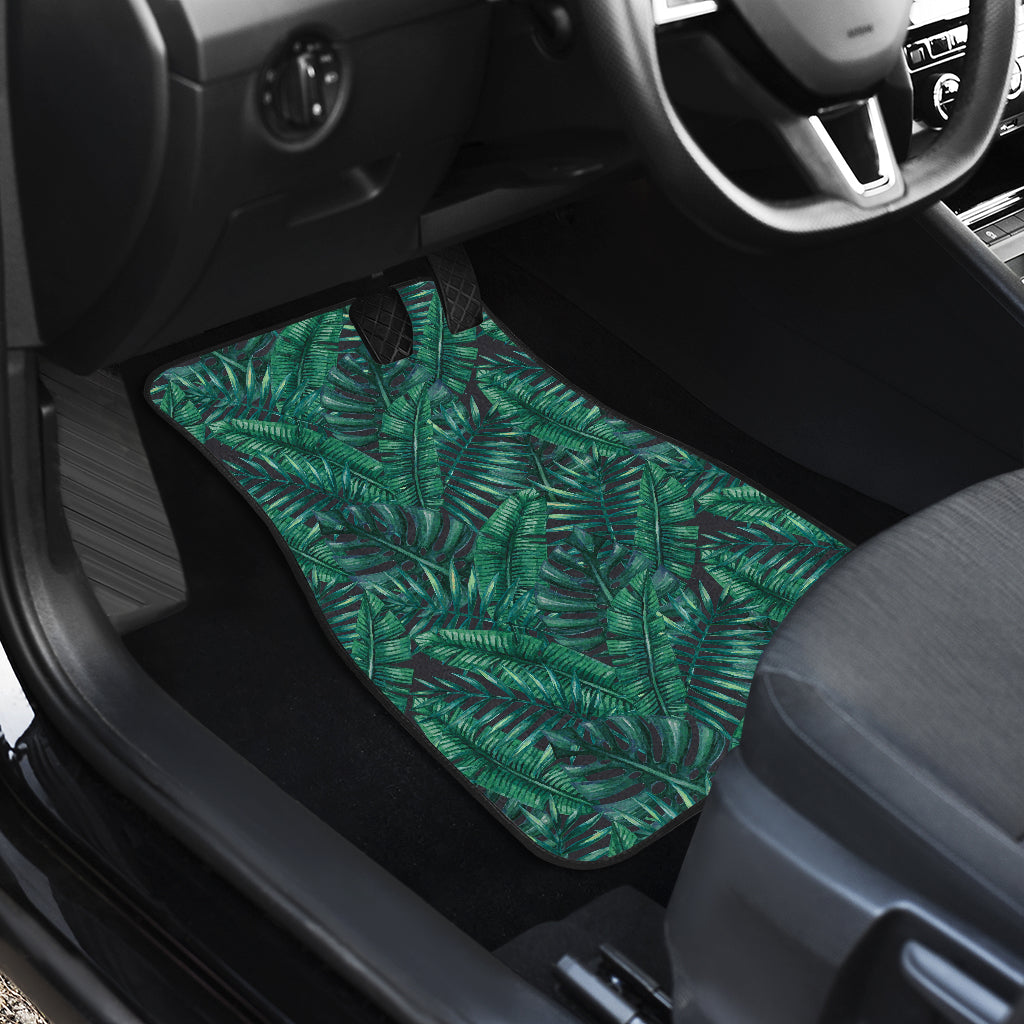 Watercolor Tropical Leaf Pattern Print Front Car Floor Mats