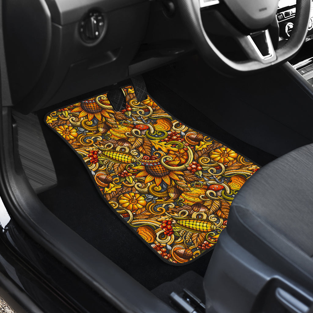 Abstract Sunflower Pattern Print Front Car Floor Mats
