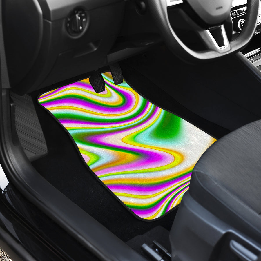 Abstract Holographic Liquid Trippy Print Front and Back Car Floor Mats