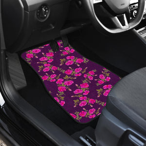 Purple Floral Flower Pattern Print Front Car Floor Mats