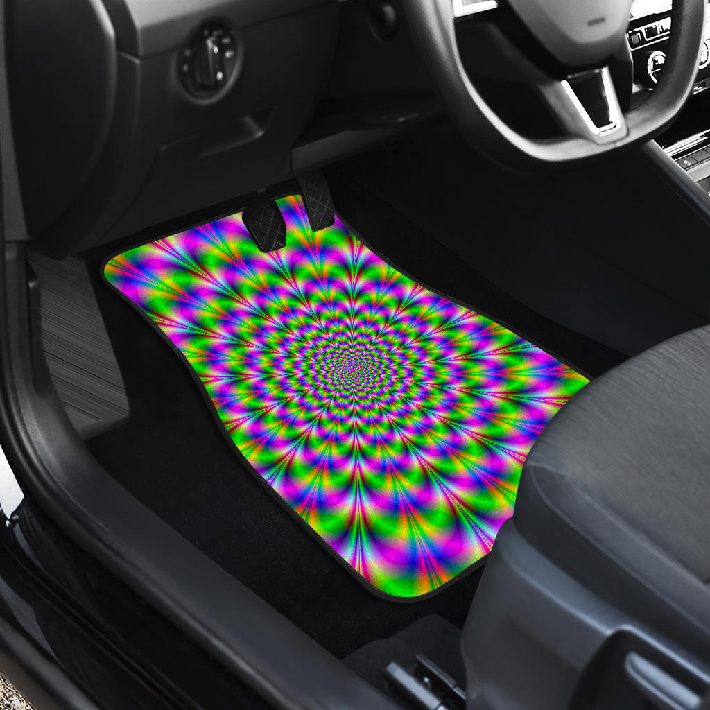 Neon Psychedelic Optical Illusion Front Car Floor Mats