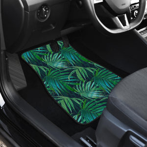 Dark Tropical Palm Leaves Pattern Print Front Car Floor Mats