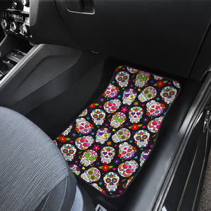 Sugar Skull Pattern Print Front Car Floor Mats