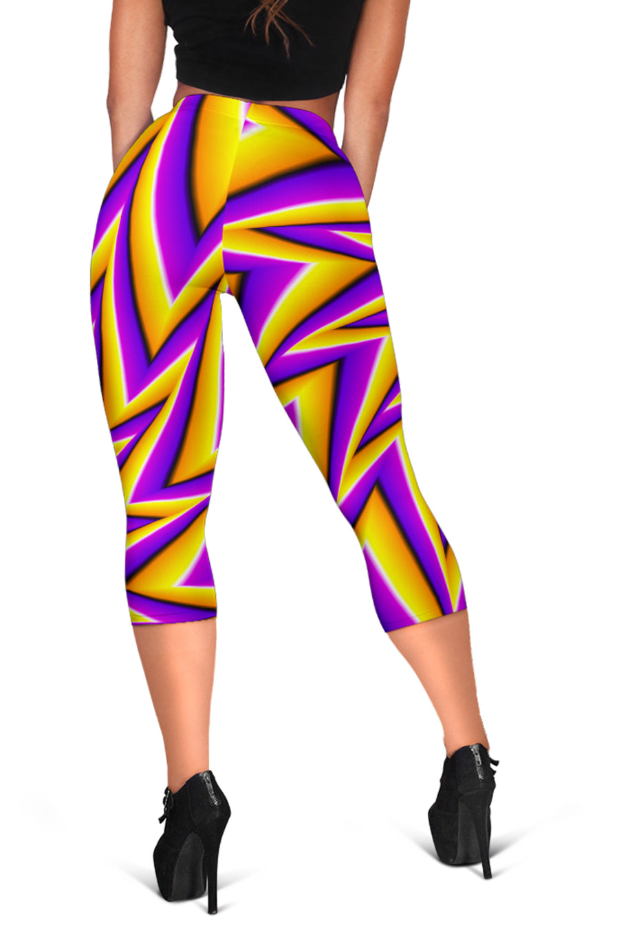 Yellow Big Bang Moving Optical Illusion Women's Capri Leggings