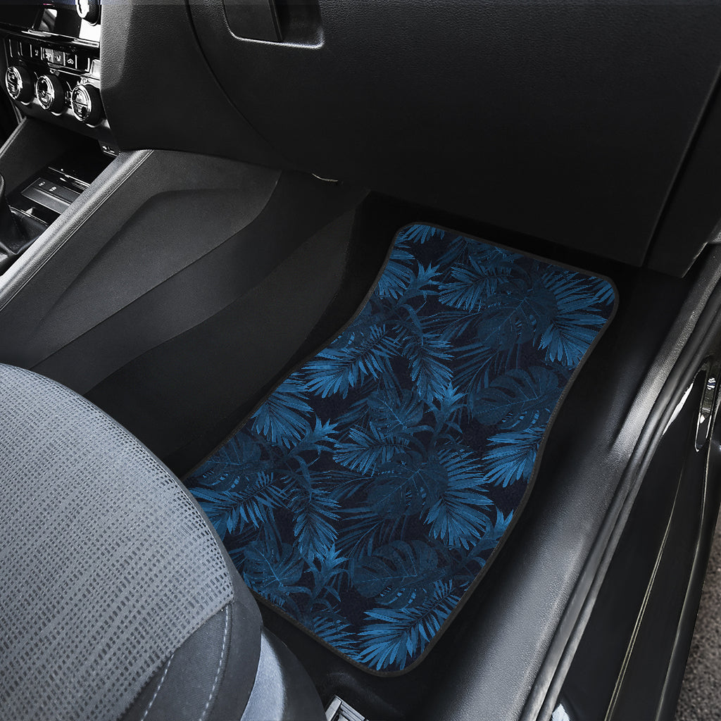Dark Blue Tropical Leaf Pattern Print Front Car Floor Mats