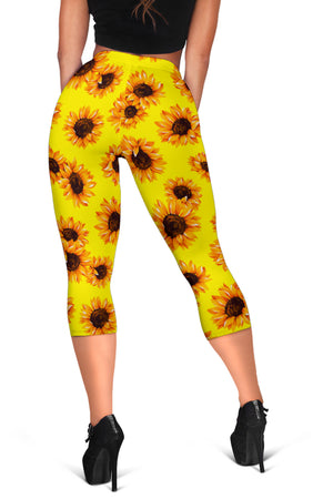 Yellow Sunflower Pattern Print Women's Capri Leggings